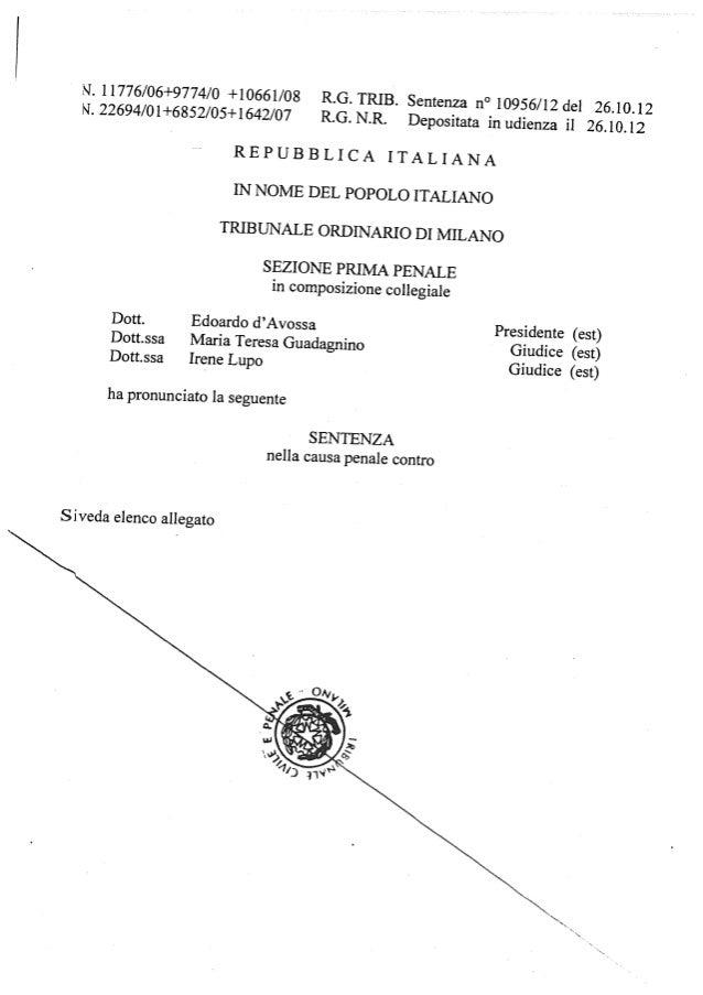 Berlusconi sentenza 10956 2012 del 26 ott 2012 condannaa 4 anni frode fiscale motivazioni mediaset