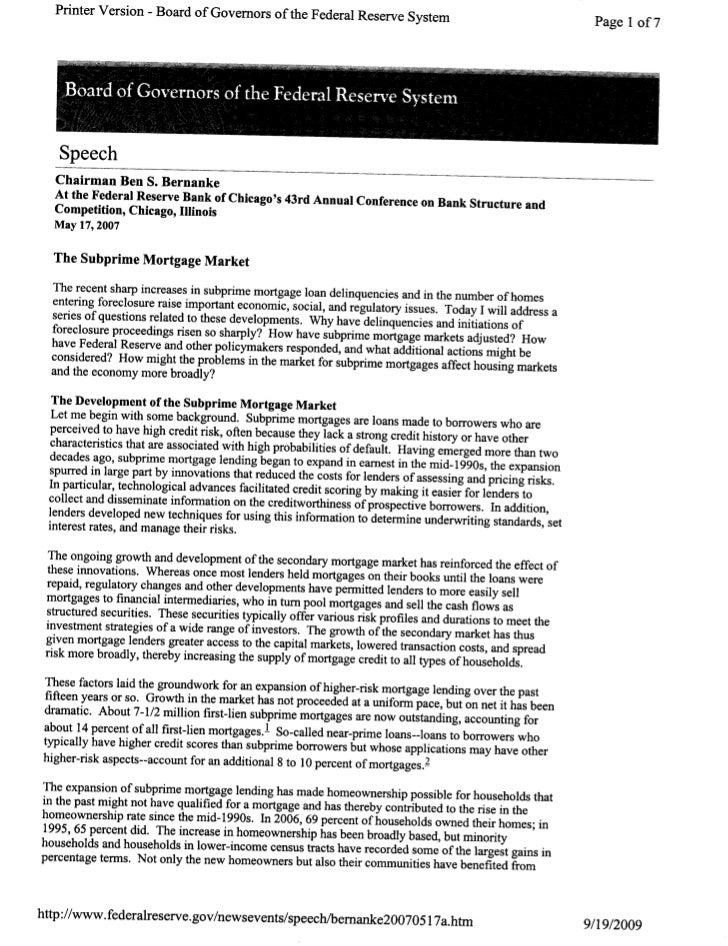 Bernanke May 17 2007 On Subprime Mortgages
