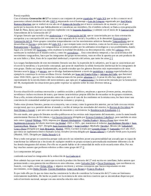 Poesia española Con el término Generación del 27 se conoce a un conjunto de poetas españoles del siglo XX que se dio a con...