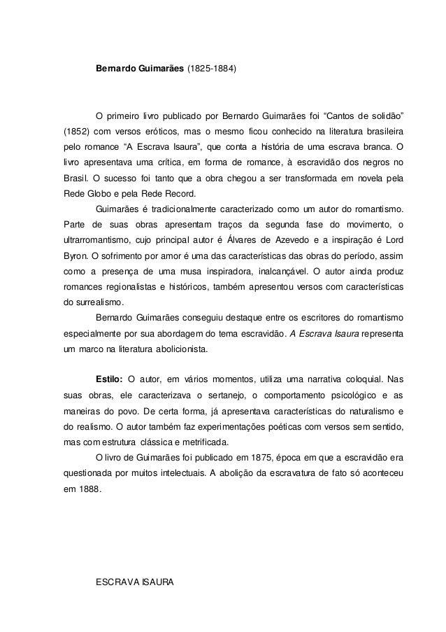 """Bernardo Guimarães (1825-1884)  O primeiro livro publicado por Bernardo Guimarães foi """"Cantos de solidão""""  (1852) com vers..."""