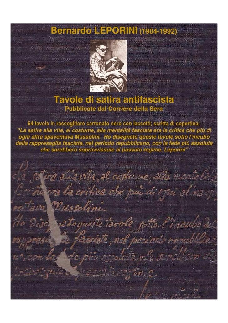 Bernardo LEPORINI (1904-1992)                Tavole di satira antifascista                     Pubblicate dal Corriere del...