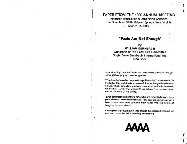 "Bill Bernbach's Speech to the 4As, ""Facts Are Not Enough"""