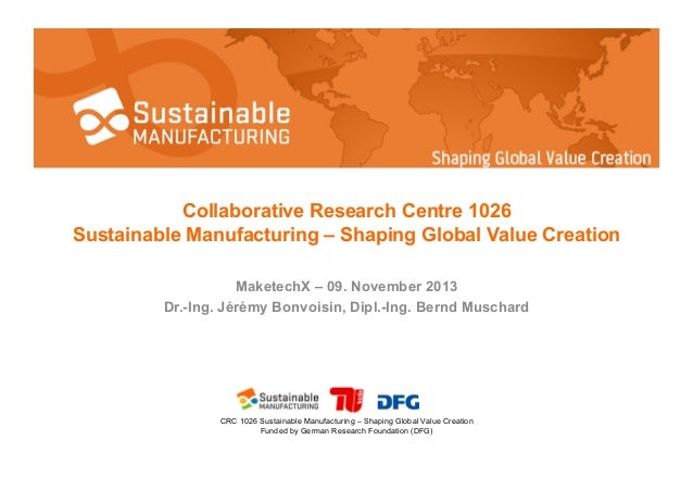 Collaborative Research Centre 1026 Sustainable Manufacturing – Shaping Global Value Creation MaketechX – 09. November 2013...