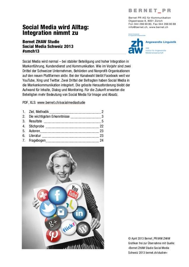 © April 2013 Bernet_PR/IAM ZHAWGrafiken frei zur Übernahme mit Quelle:«Bernet ZHAW Studie Social MediaSchweiz 2013 bernet....