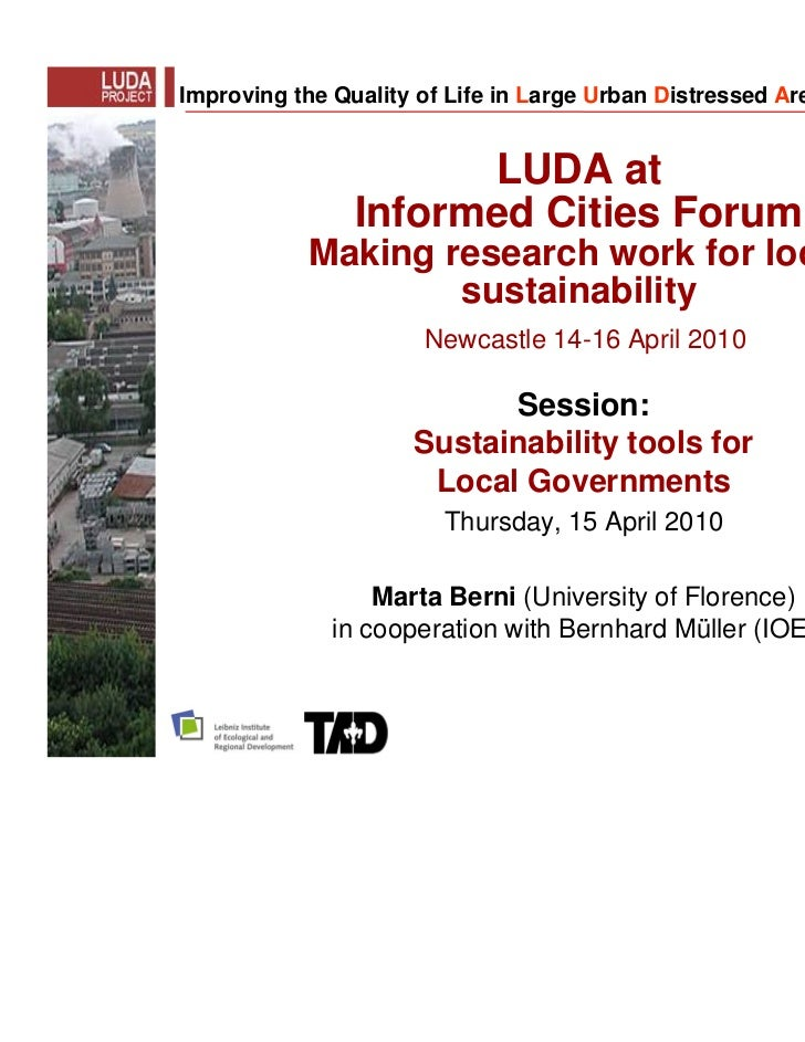 Improving the Quality of Life in Large Urban Distressed Areas                      LUDA at                Informed Cities ...