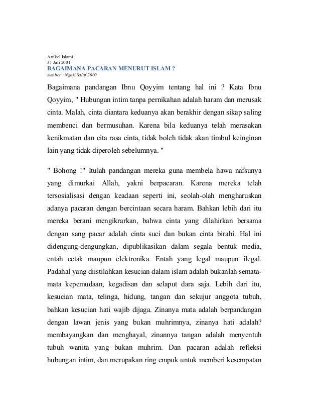 Artikel Islami 31 Juli 2001  BAGAIMANA PACARAN MENURUT ISLAM ? sumber : Ngaji Salaf 2000  Bagaimana pandangan Ibnu Qoyyim ...