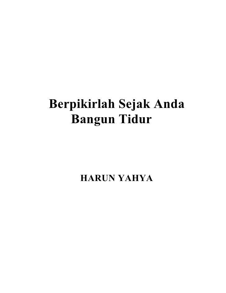 Buku Harun Yahya : Berpikirlah Sejak anda bangun tidur