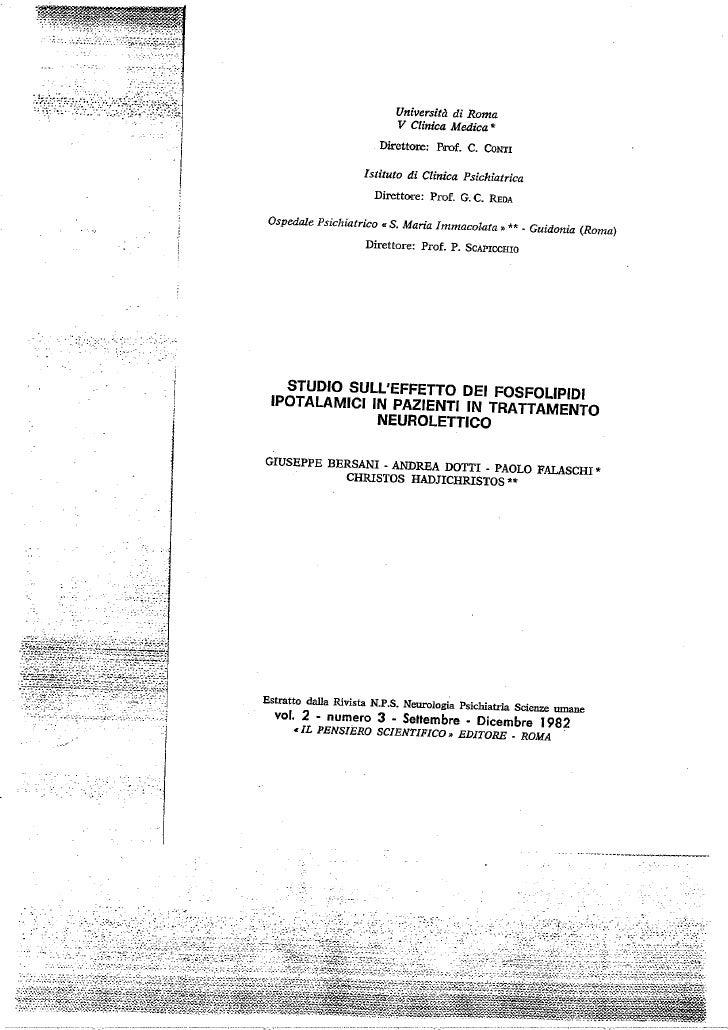 Studio sull'effetto dei fosfolipidi ipotalamici in pazienti in trattamento neurolettico