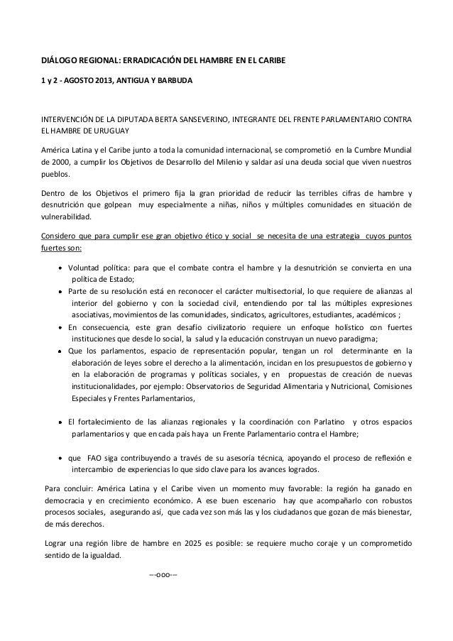 DIÁLOGO REGIONAL: ERRADICACIÓN DEL HAMBRE EN EL CARIBE 1 y 2 - AGOSTO 2013, ANTIGUA Y BARBUDA INTERVENCIÓN DE LA DIPUTADA ...