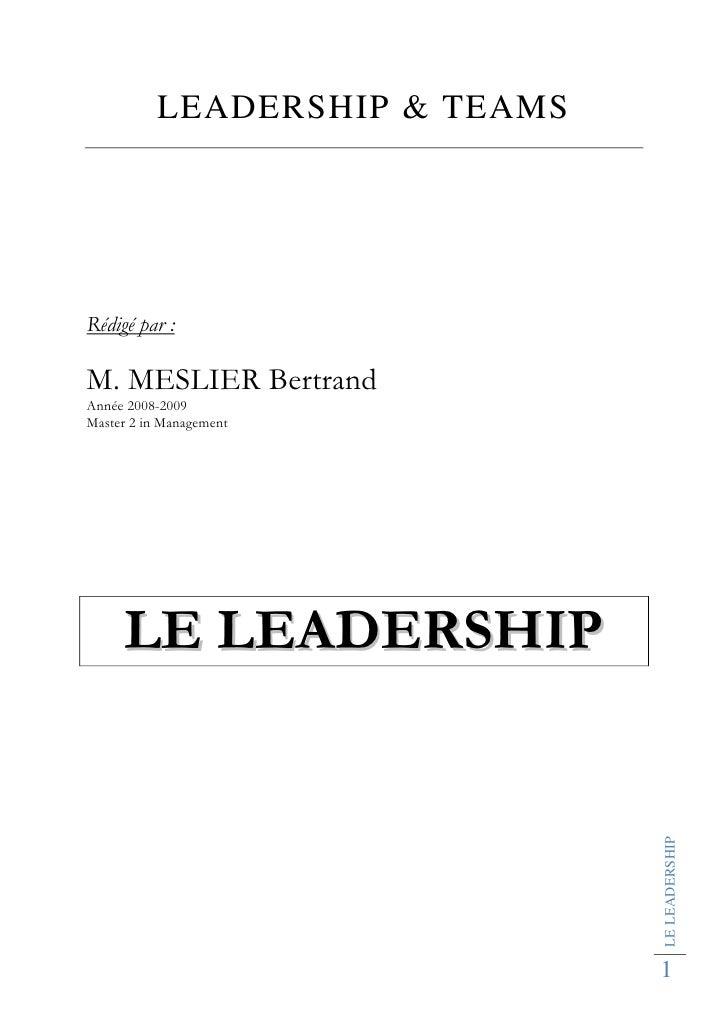 LEADERSHIP & TEAMS     Rédigé par :  M. MESLIER Bertrand Année 2008-2009 Master 2 in Management          LE LEADERSHIP    ...
