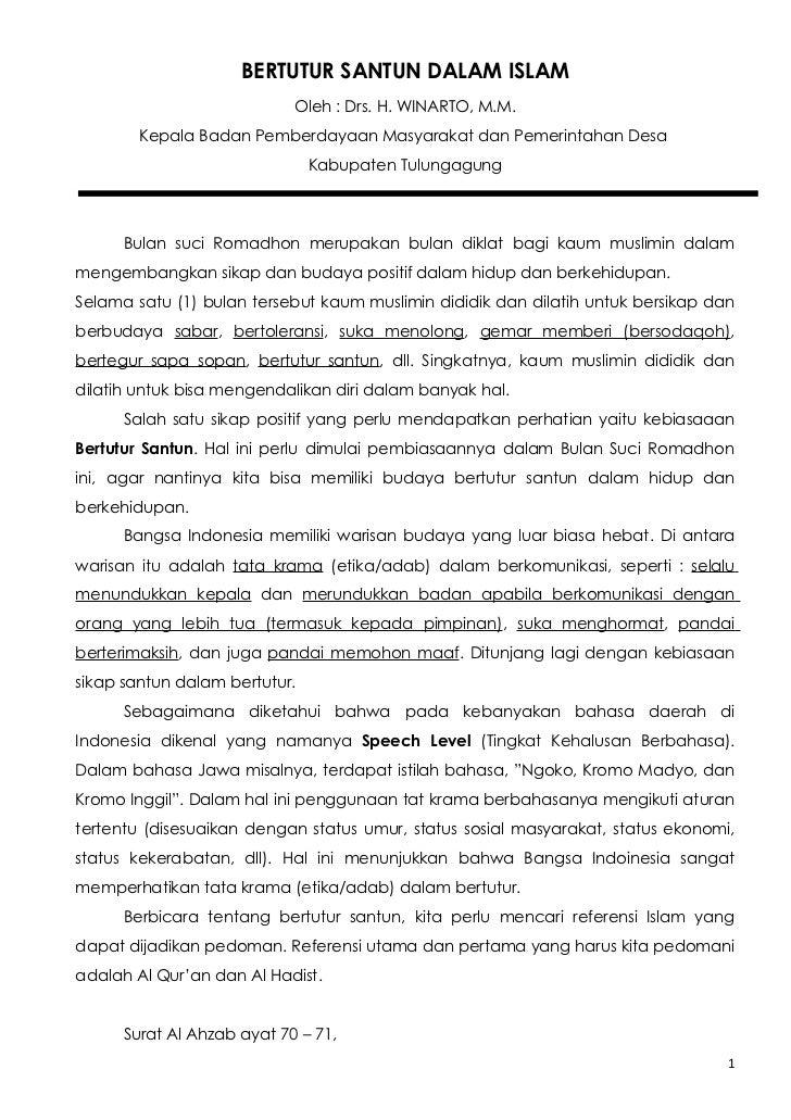 BERTUTUR SANTUN DALAM ISLAM                            Oleh : Drs. H. WINARTO, M.M.        Kepala Badan Pemberdayaan Masya...