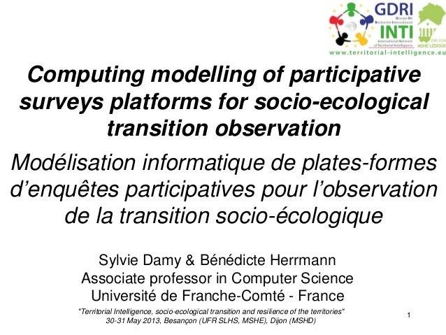 INTI 13 - Modélisation informatique de plates-formes d'enquêtes participatives pour l'observation de la transition socio-écologique