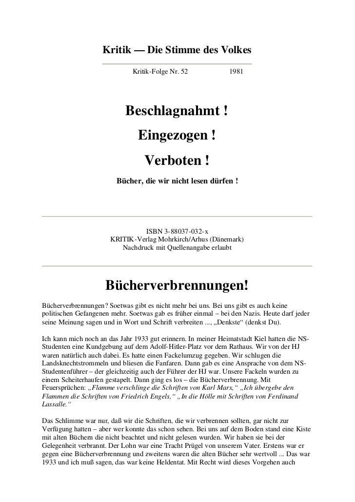 Kritik — Die Stimme des Volkes                              Kritik-Folge Nr. 52              1981                         ...