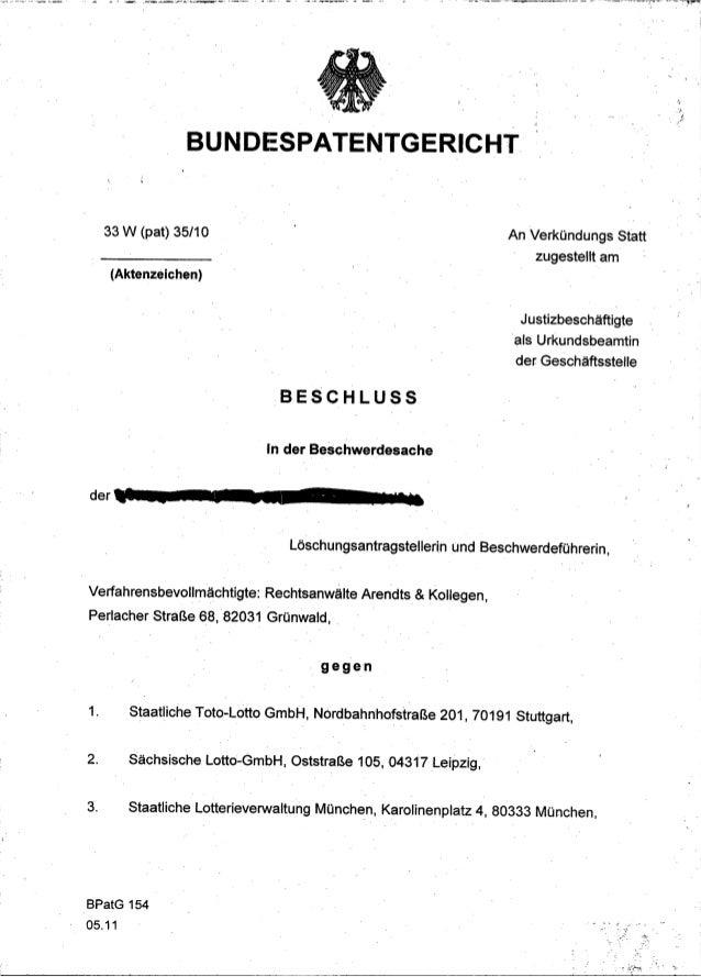 BUNDESPATENTGERICHT     33 W (pat) 35/10                                                    An Verkündungs Statt          ...