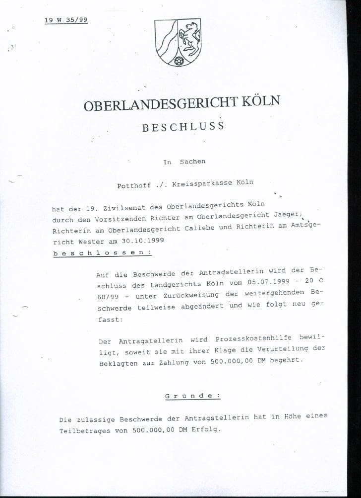 Beschluss olg köln. beschluss 19.10.1999