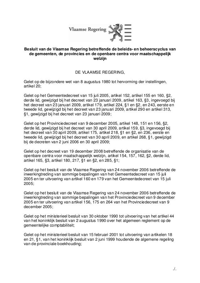 Besluit van de Vlaamse Regering betreffende de beleids- en beheerscyclus van  de gemeenten, de provincies en de openbare c...