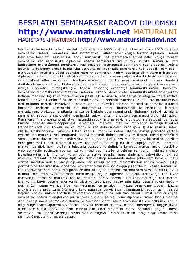 Besplatni seminarski radovi diplomski maturski.net maturalni