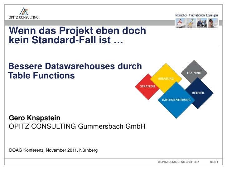 Wenn das Projekt eben dochkein Standard-Fall ist …Bessere Datawarehouses durchTable FunctionsGero KnapsteinOPITZ CONSULTIN...