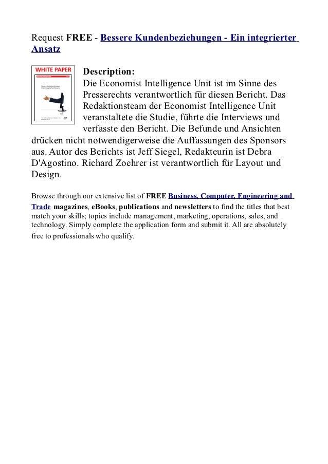 Request FREE - Bessere Kundenbeziehungen - Ein integrierterAnsatz             Description:             Die Economist Intel...