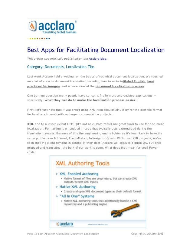 Best Apps for Facilitating Document LocalizationThis article was originally published on the Acclaro blog.Category: Docume...
