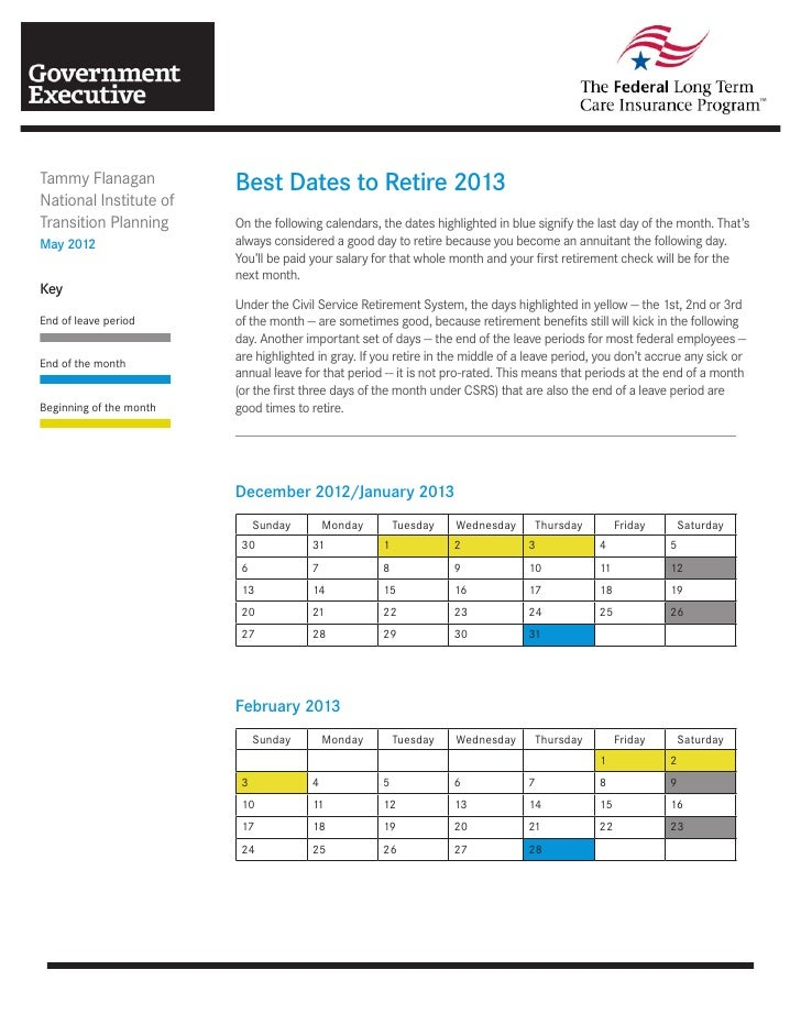 Tammy Flanagan           Best Dates to Retire 2013National Institute ofTransition Planning      On the following calendars...