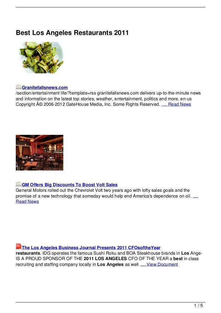 Best Los Angeles Restaurants 2011   Granitefallsnews.com/section/entertainment life/?template=rss granitefallsnews.com del...