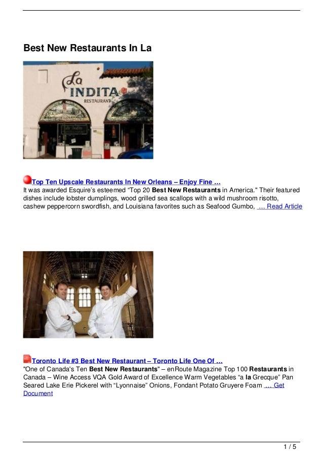 Best New Restaurants In La