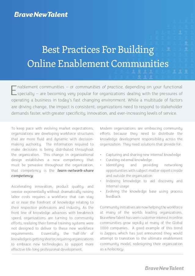 Enablement communities – or communities of practice, depending on your functional specialty – are becoming very popular fo...