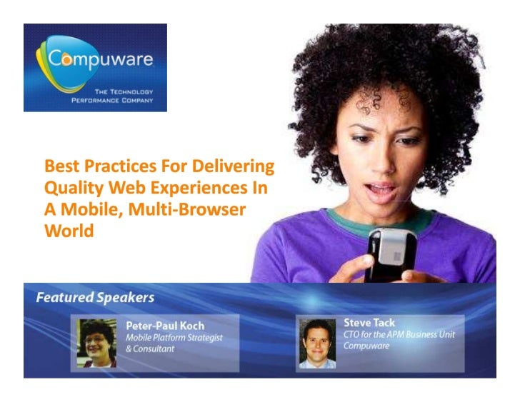 Best practices for delivering quality web experiences