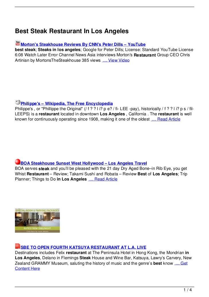 Best Steak Restaurant In Los Angeles   Mortons Steakhouse Reviews By CNNs Peter Dills – YouTubebest steak; Steaks in los a...