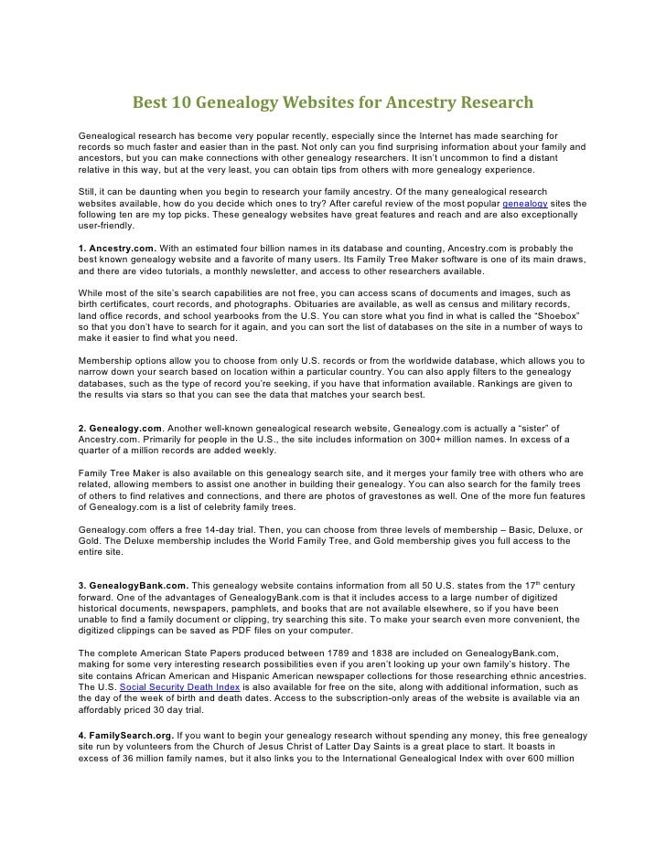 Best 10 Genealogy Websites