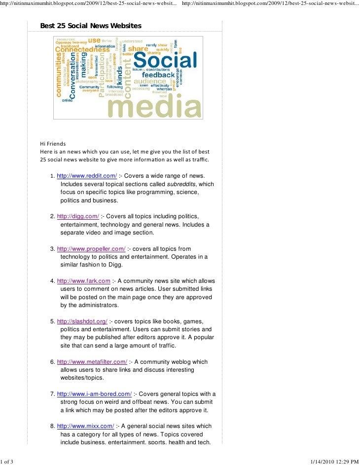 Best 25 Social News Websites