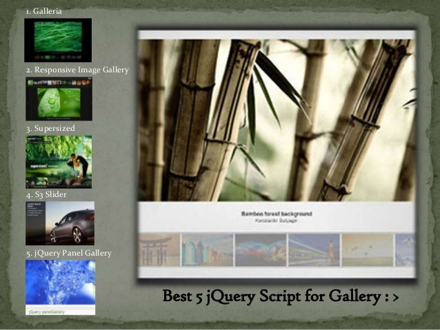 1. Galleria2. Responsive Image Gallery3. Supersized4. S3 Slider5. jQuery Panel Gallery                              Best 5...