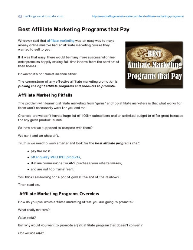 Best affiliate marketing programs that pay