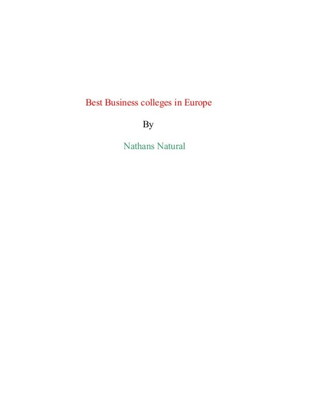 Best Business colleges in Europe By Nathans Natural