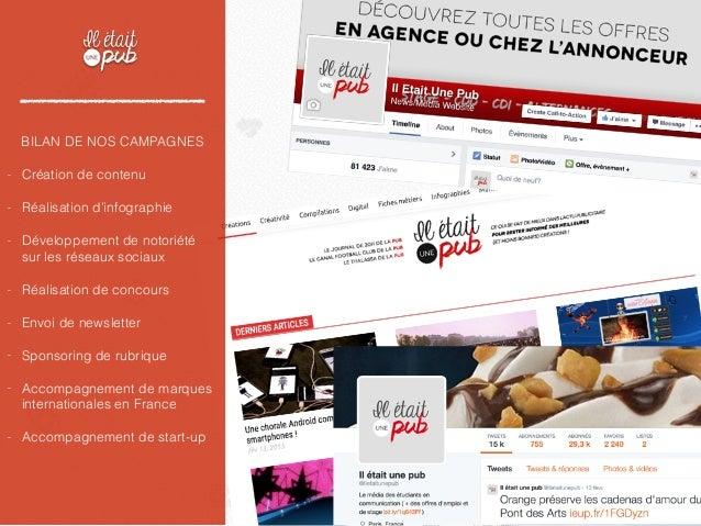 BILAN DE NOS CAMPAGNES - Création de contenu - Réalisation d'infographie - Développement de notoriété sur les réseaux soci...