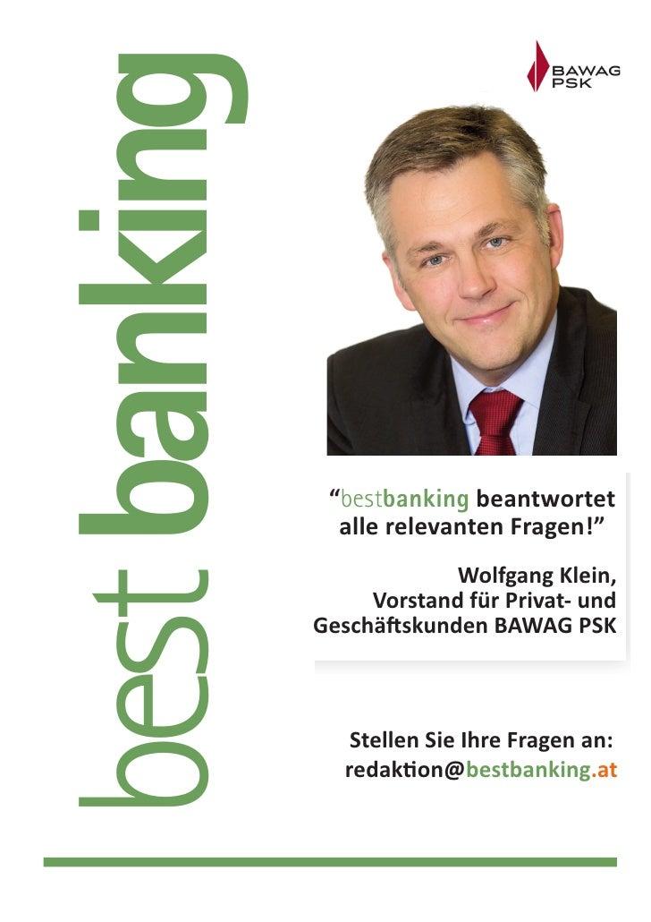 """best banking                """"bestbanking beantwortet                 alle relevanten Fragen!""""                            W..."""