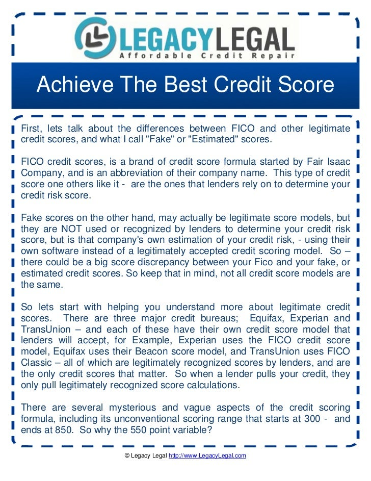 Achieve The Best Credit ScoreFirst, lets talk about the differences between FICO and other legitimatecredit scores, and wh...
