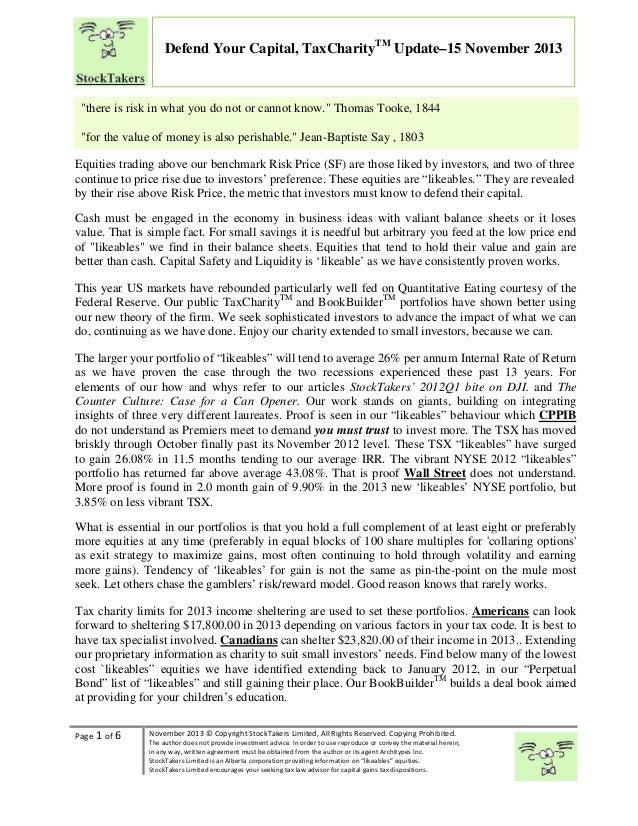 TaxCharityTM Portfolios Update 15nov2013