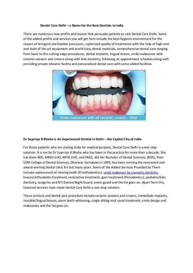 Dental Care Delhi – a Name for the Best Dentists in India