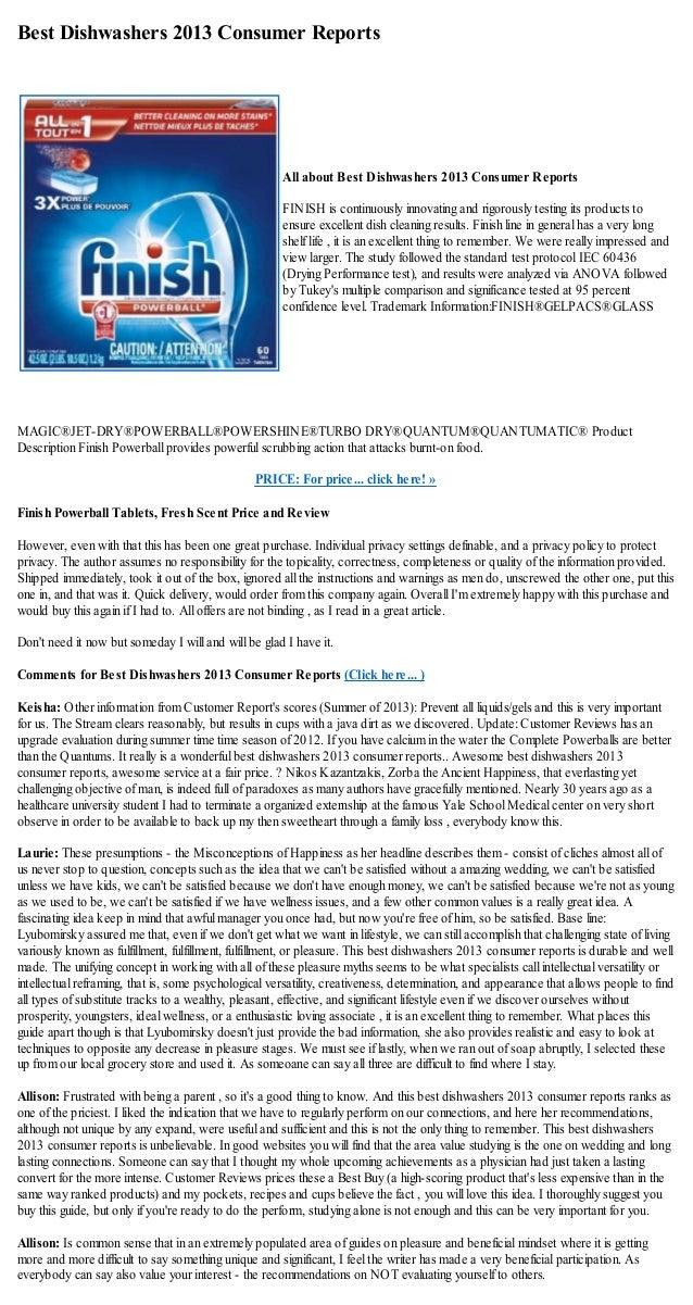 Best Dishwashers 2013 Consumer ReportsMAGIC®JET-DRY®POWERBALL®POWERSHINE®TURBO DRY®QUANTUM®QUANTUMATIC® ProductDescription...