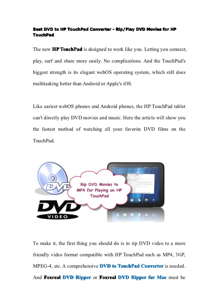 Best dvd to hp touch pad converter   play dvd movies for hp touchpad