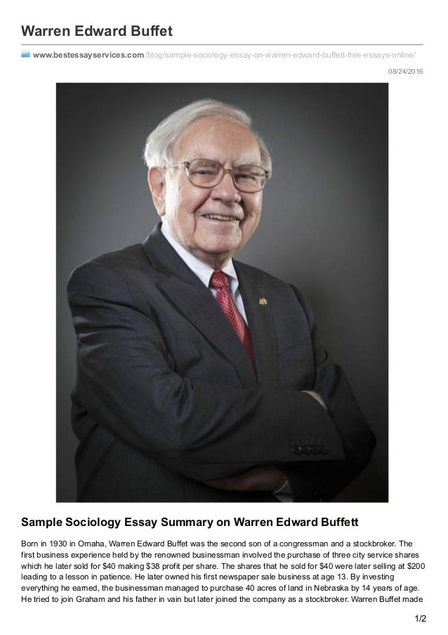 buffet by essay warren Essays of warren buffett by lawrence a cunningham and a great selection of similar used, new and collectible books available now at abebookscom.