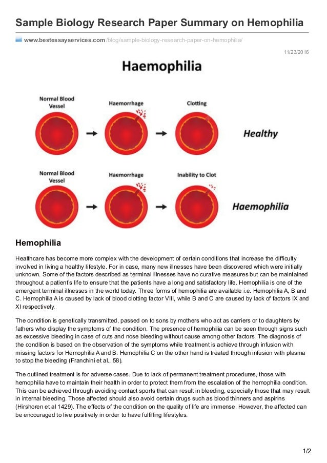 hemophilia research paper Understand the costs behind hemophilia treatment  that patients on preventive  therapy use the most replacement factor, research also shows  there are  several recent resources detailing employer spending for hemophilia1, 3, 7 a  paper.