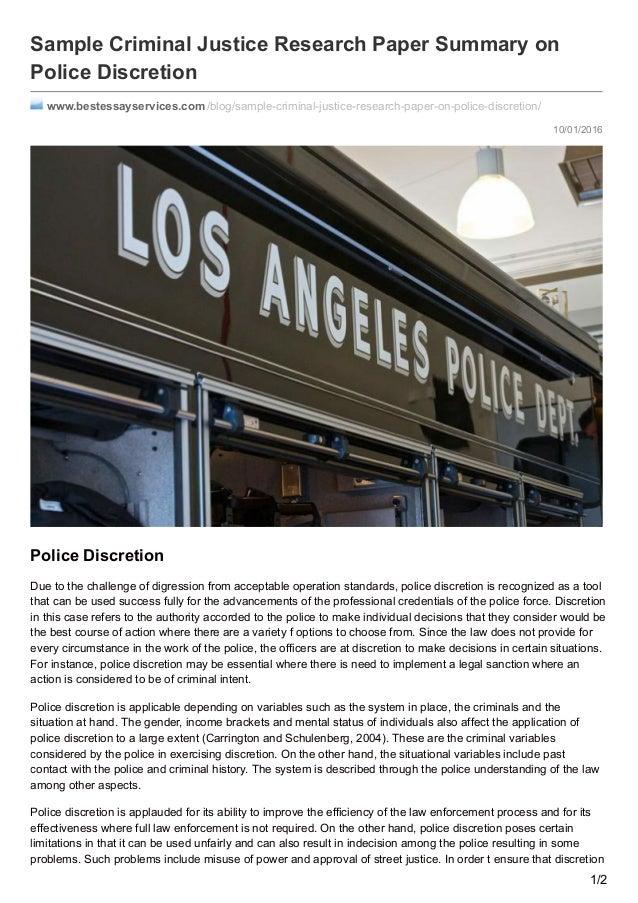 Law enforcement research paper
