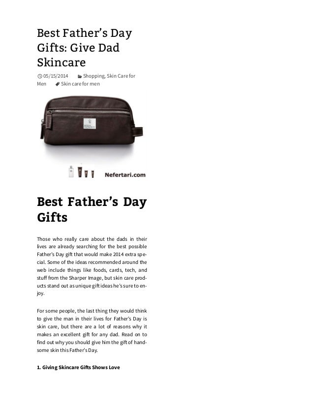 Best Father's Day Gifts: Give Dad Skincare 05/15/2014 Shopping, Skin Care for Men Skin care for men Best Father's Day Gi...