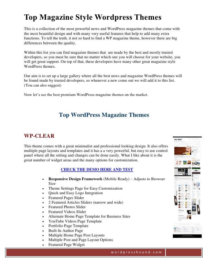 Best Magazine Style WP Themes