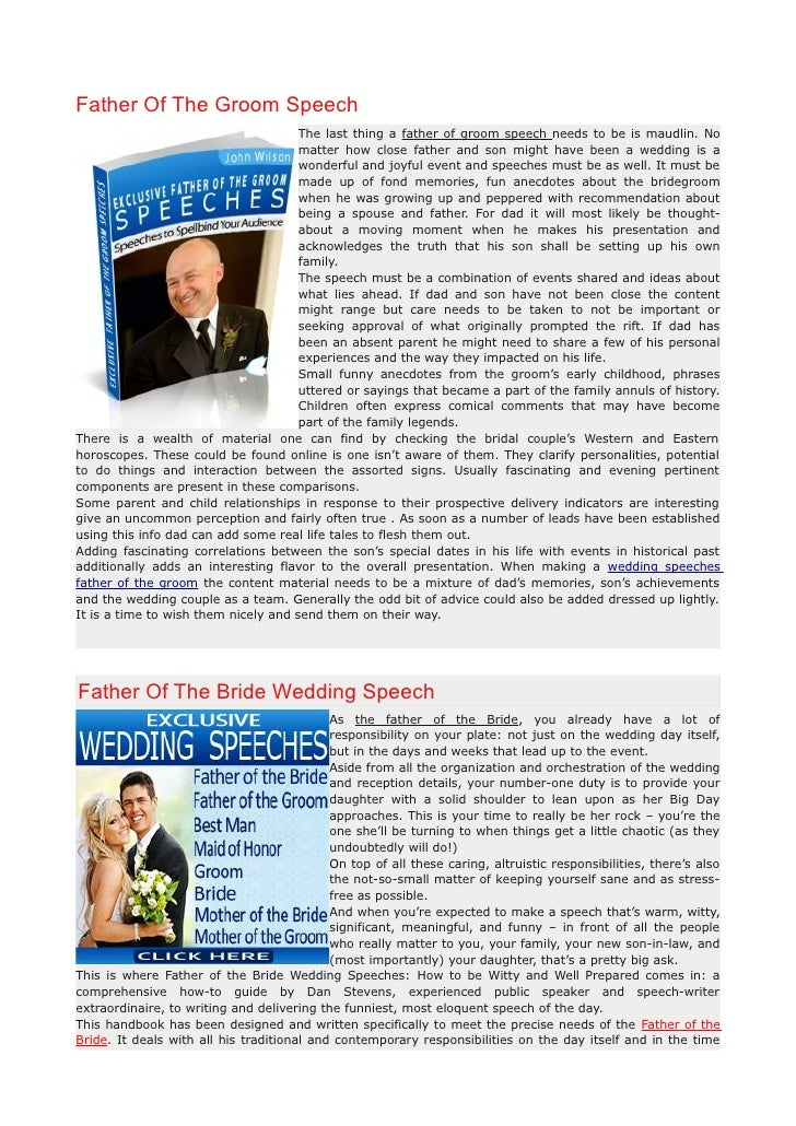 Father Of The Groom Speech                                      The last thing a father of groom speech needs to be is mau...