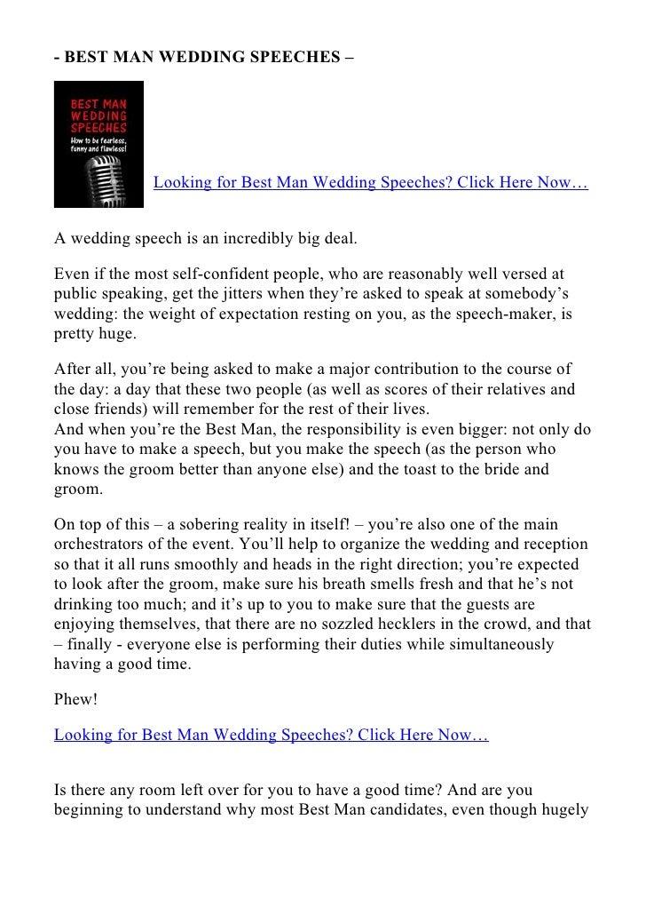 - BEST MAN WEDDING SPEECHES –                   Looking for Best Man Wedding Speeches? Click Here Now…   A wedding speech ...