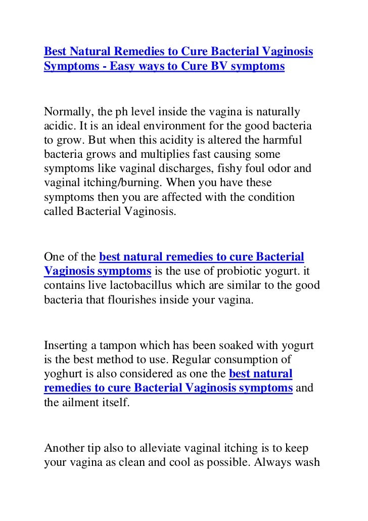 Best natural remedies to cure bacterial vaginosis symptoms